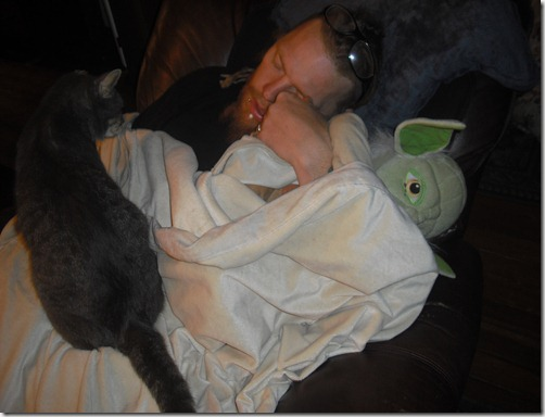 Zombie Killer asleep w/ a stuffed yoda while old man cat watches over him.