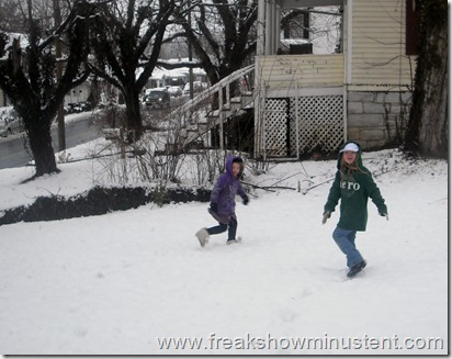 girls playing outside in the snow 3/6/13