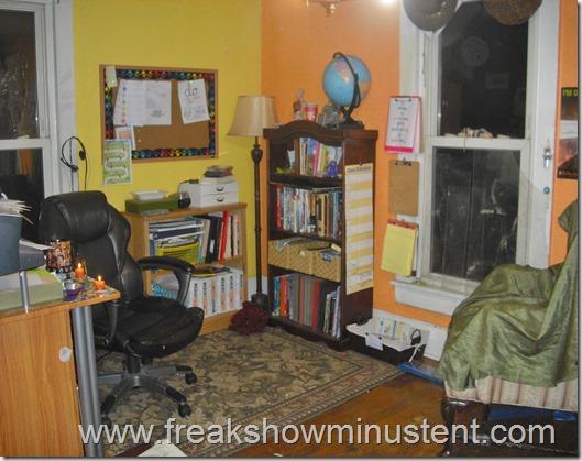 homeschool room with yellow and orange walls