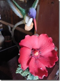 humming bird, red poppy figure