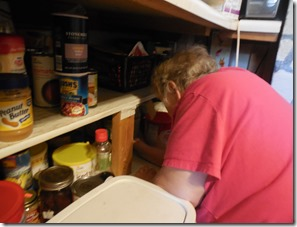 under counter stock of canned food